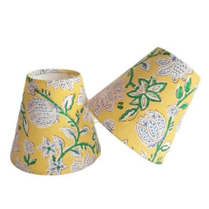 Indian Block Print Candle Shade - Yellow