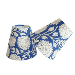 Indian Block Print Candle Shade - Blue