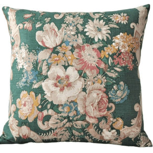 Vintage Floral Cushion In Beautiful Green Sanderson Design
