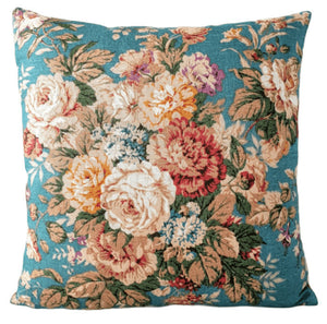 Vintage Floral Cushion In Teal And Rust Florals