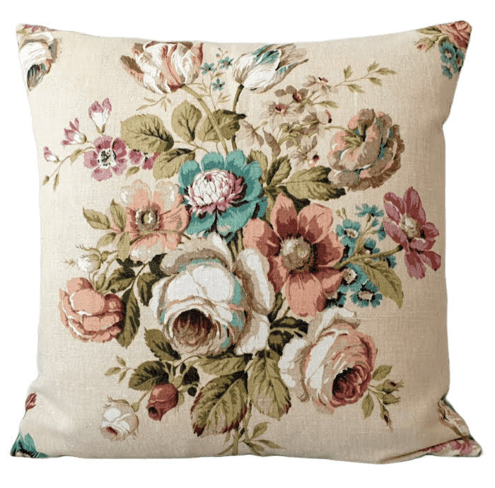 Vintage Floral Fabric Cushion In Cream With Large Floral Bouquet