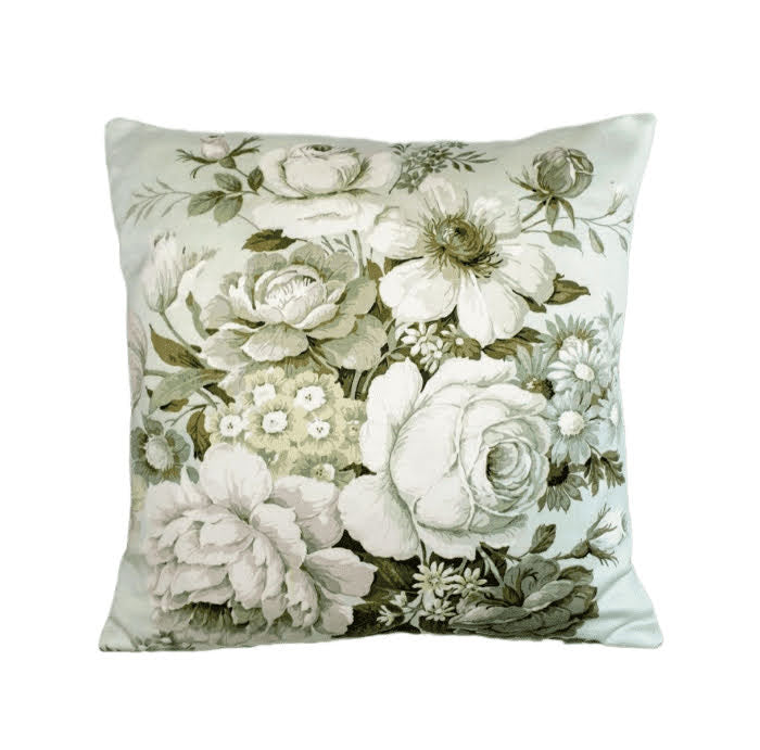 Vintage Floral cushion In Pale Blooms - 16 inch