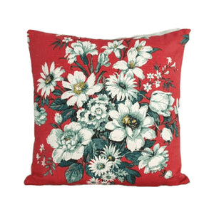 Vintage Floral Fabric Cushion In Red and Grey Florals - 16 inch