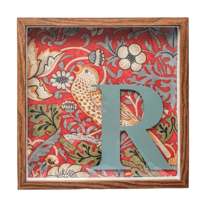 Morris & Co Personalised Initial Framed Picture  - Strawberry Thief Crimson