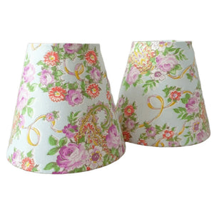 Candle Shade In Pale Blue And Lilac Paisley Florals