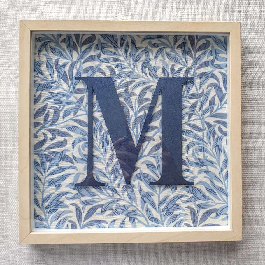 Morris & Co Personalised Initial Framed Picture  - Willow Bough Minor Blue
