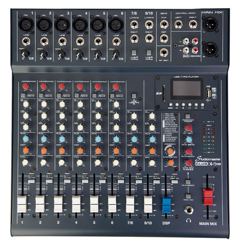 Studiomaster Club XS 10 - 10 input mixer with USB/SD Card Media player/recorder & bluetooth playback