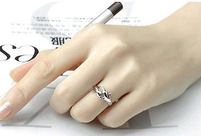 Lovely Silver Double Dolphin Adjustable Ring