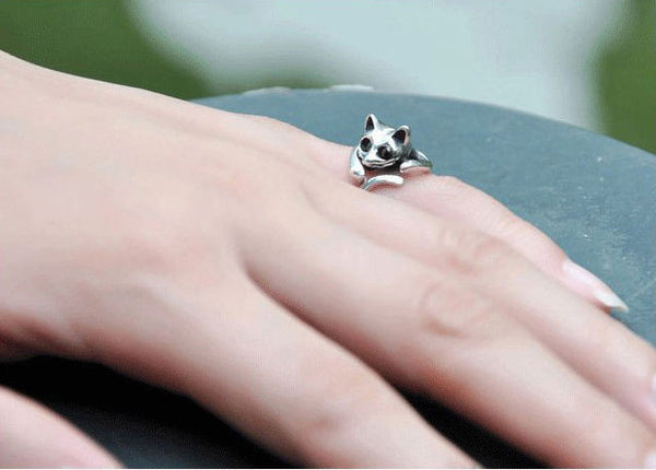 Lovely Silver Cat Ring
