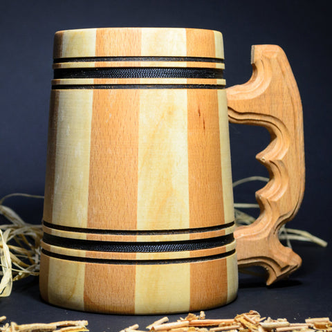 100% Handcrafted wooden beer mug