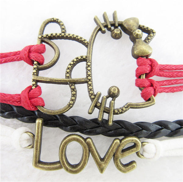 Cat Infinity Love Anchor Leather Cute Charm Bracelet