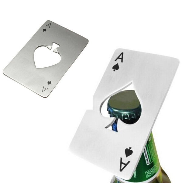 Poker A Credit Card Silver Bottle Opener Stainless Steel
