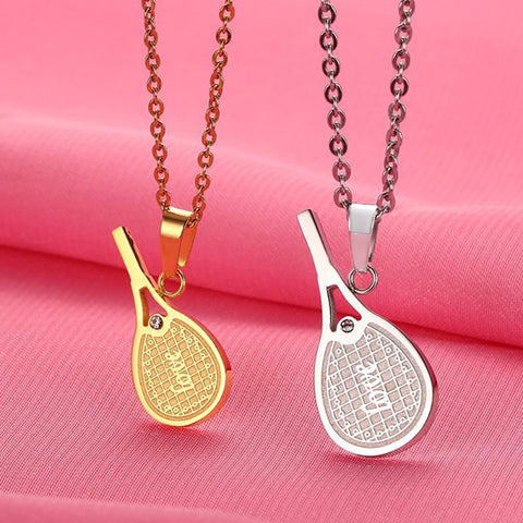 Couple's Personalized Tennis Racket Necklace