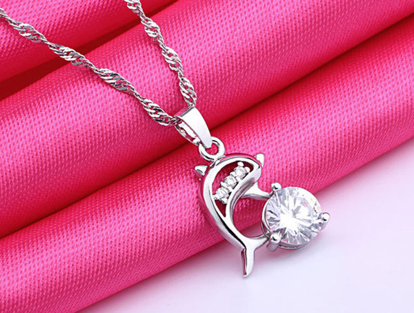 Jumping Dolphins Silver Rhinestone Pendant Necklace