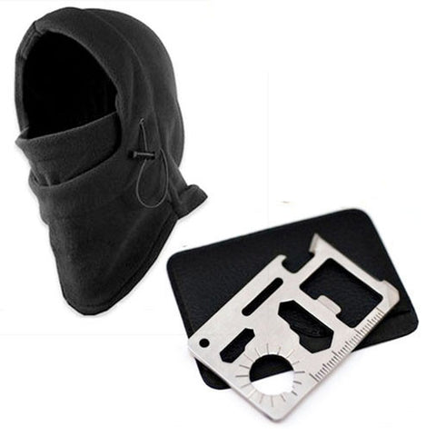 Outdoor Camping Kit Knife Card + Winter Ski Mask Beanie