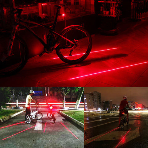 2x Laser + 5x LED Rear Flashing Lamp (Bicycle Lane Light)