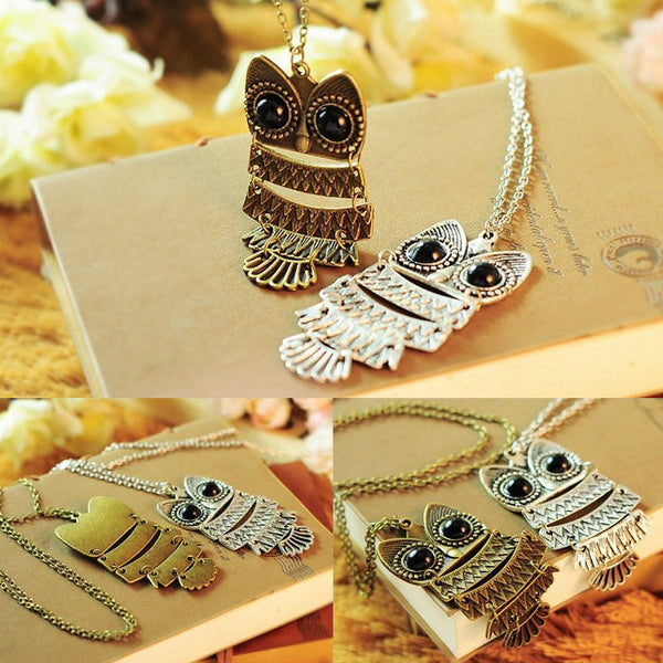 New Lady Vintage Silver Owl Pendant