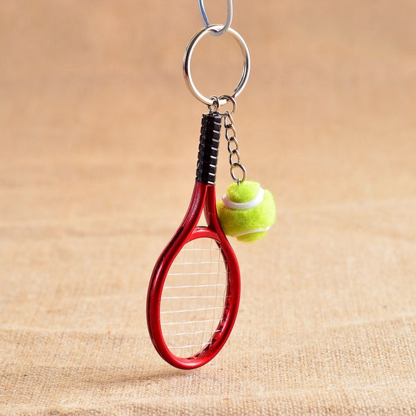 Tennis Racket And Ball Keychain