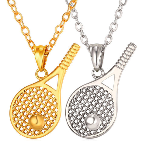 Beautiful Tennis Ball And Racket Necklace For Men/Women