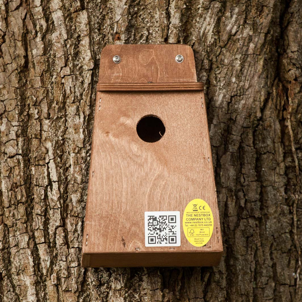 Small Bird nesting box mounted on tree