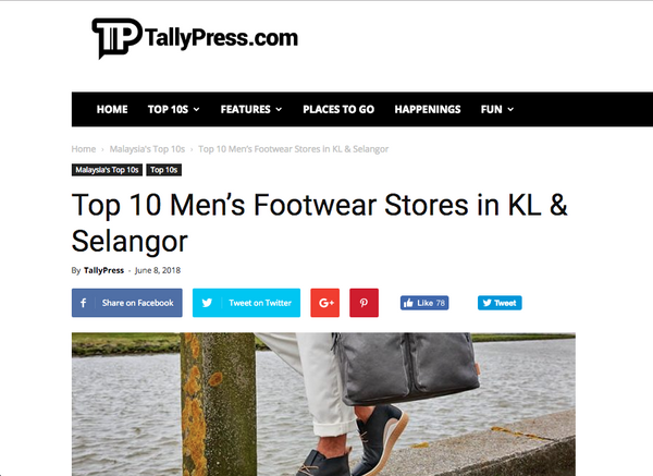 ZEVE Shoes featured in TallyPress.com - Top 10 Men's Footwear Stores in KL & Selangor