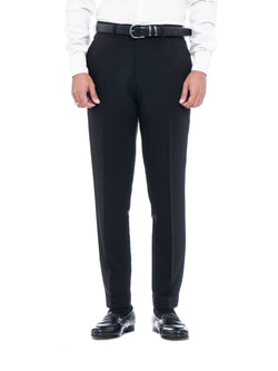 Trousers With Belt Loop -  Black Plain Cuffed (Stretchable)
