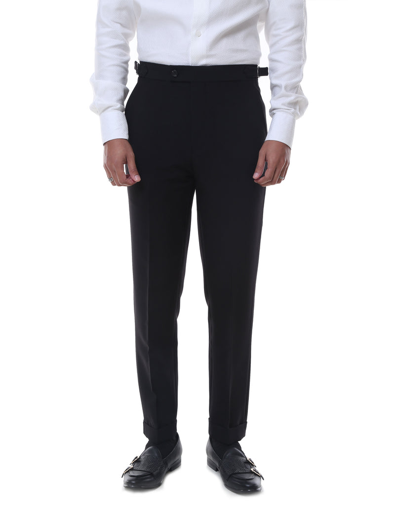 Trousers With Side Adjusters - Black Plain Cuffed (Stretchable)