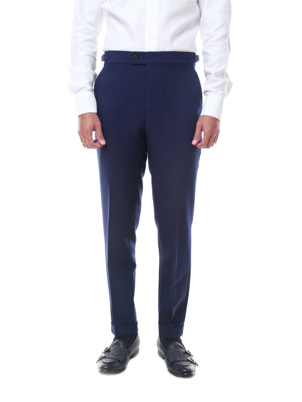 Trousers With Side Adjusters - Navy Blue Plain Cuffed (Stretchable)