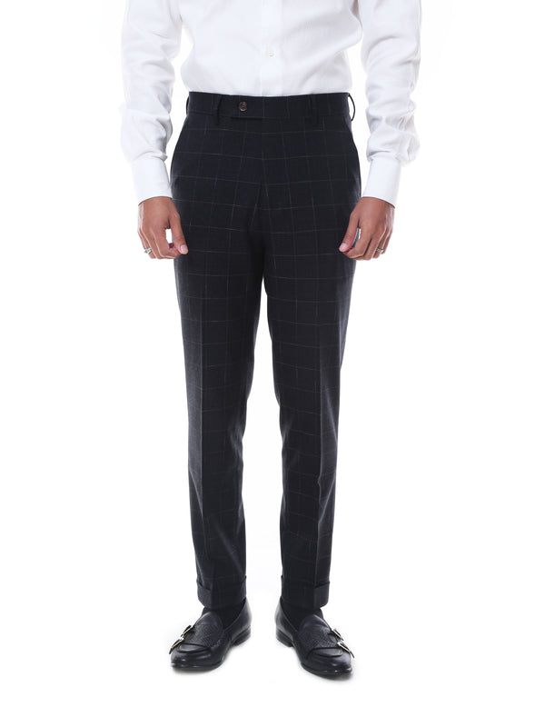 Trousers With Belt Loop -  Black Charcoal Checkered Cuffed (Stretchable)