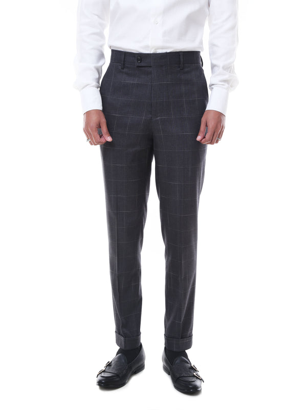 Trousers With Belt Loop -  Grey Checkered Cuffed (Stretchable)