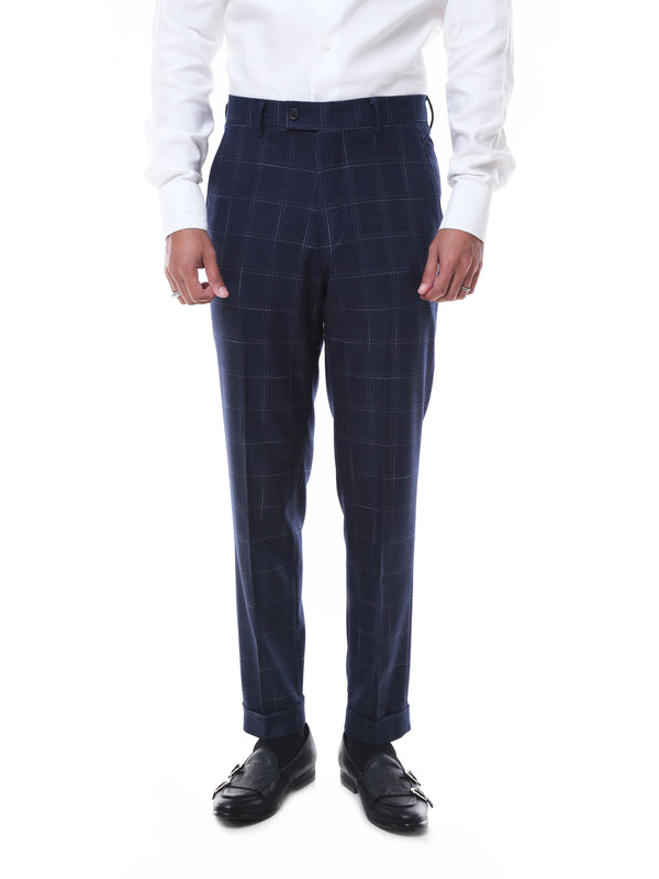 Trousers With Belt Loop -  Navy Blue Checkered Cuffed (Stretchable)
