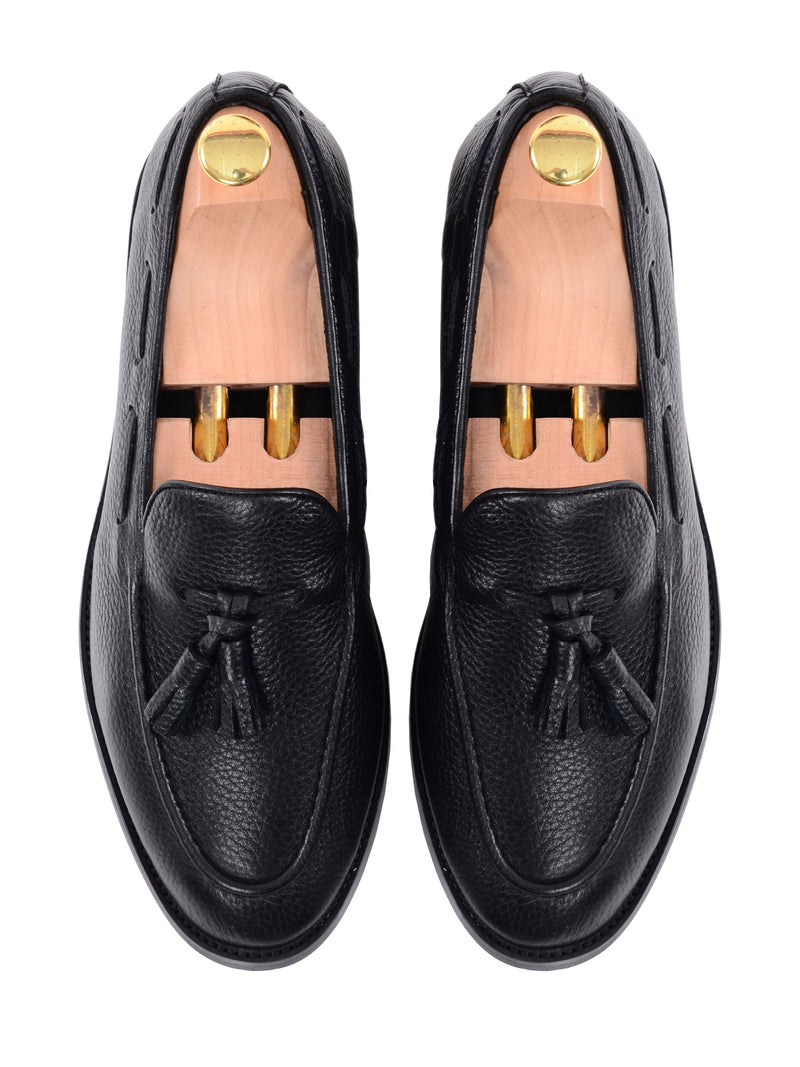 Tassel Loafer - Black Pebble Grain