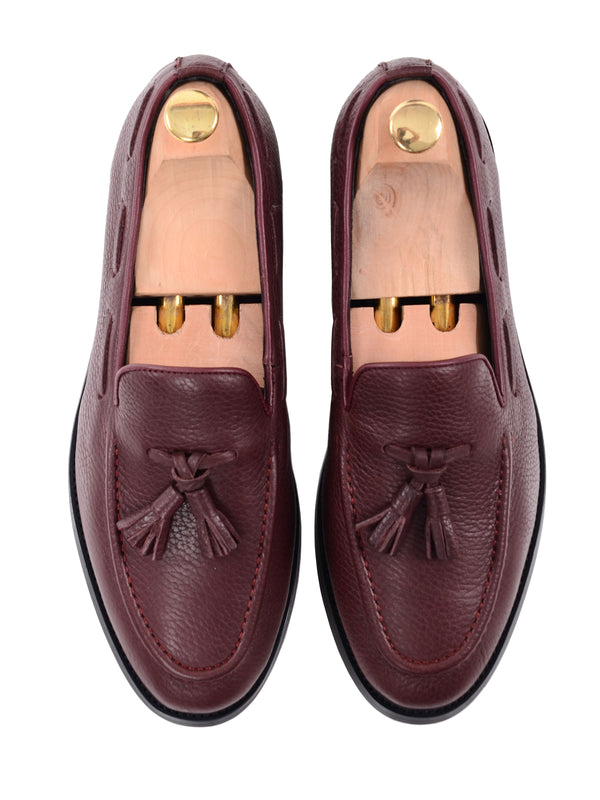 Tassel Loafer - Red Pebble Grain