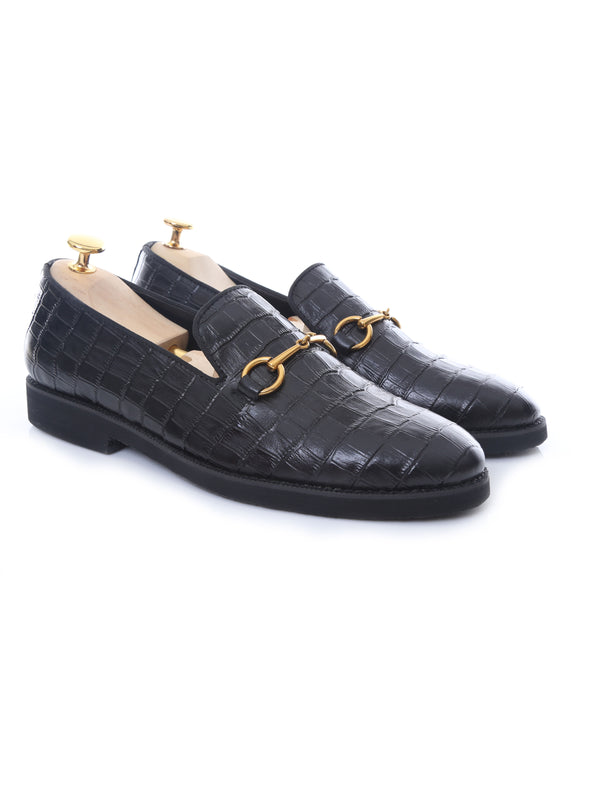 Loafer Slipper Horsebit Buckle - Black Croco Leather (Crepe Sole)