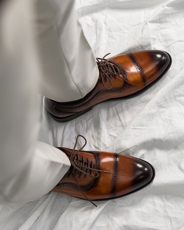 Oxford Cap Toe Adelaide - Cognac Tan Lace Up (Crust Patina)