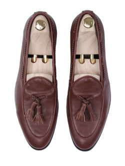 Belgian Loafer With Tassel - Brown Leather