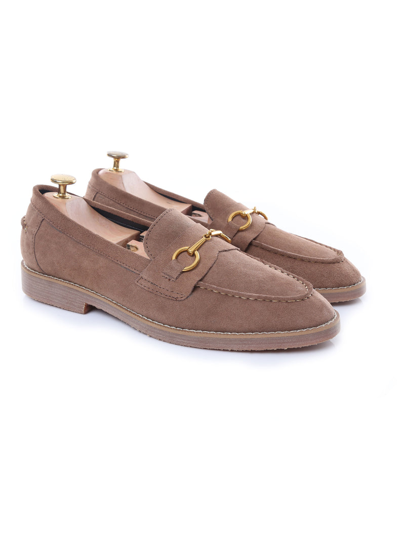 Penny Loafer Horsebit Buckle - Sand Brown Suede Leather (Brown Crepe Sole)