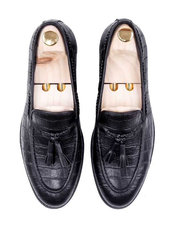 Tassel Loafer - Black Crocodile Leather (Crepe Sole)