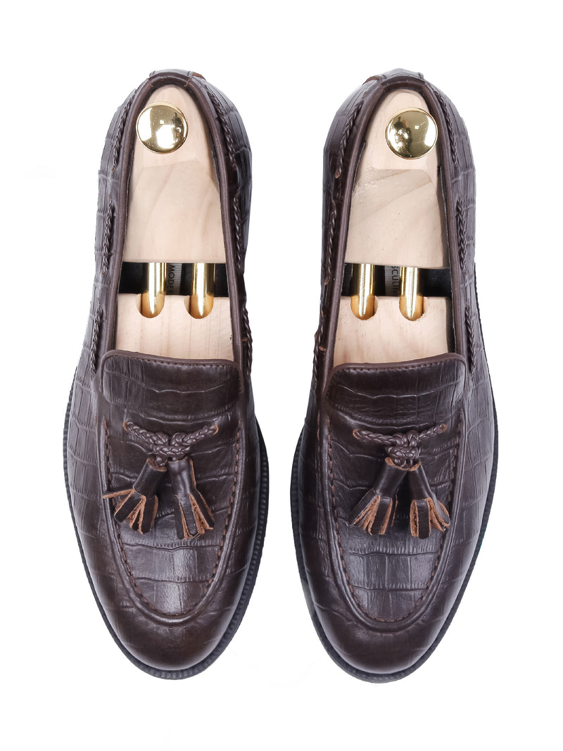 Tassel Loafer - Coffee Croco Leather (Crepe Sole)