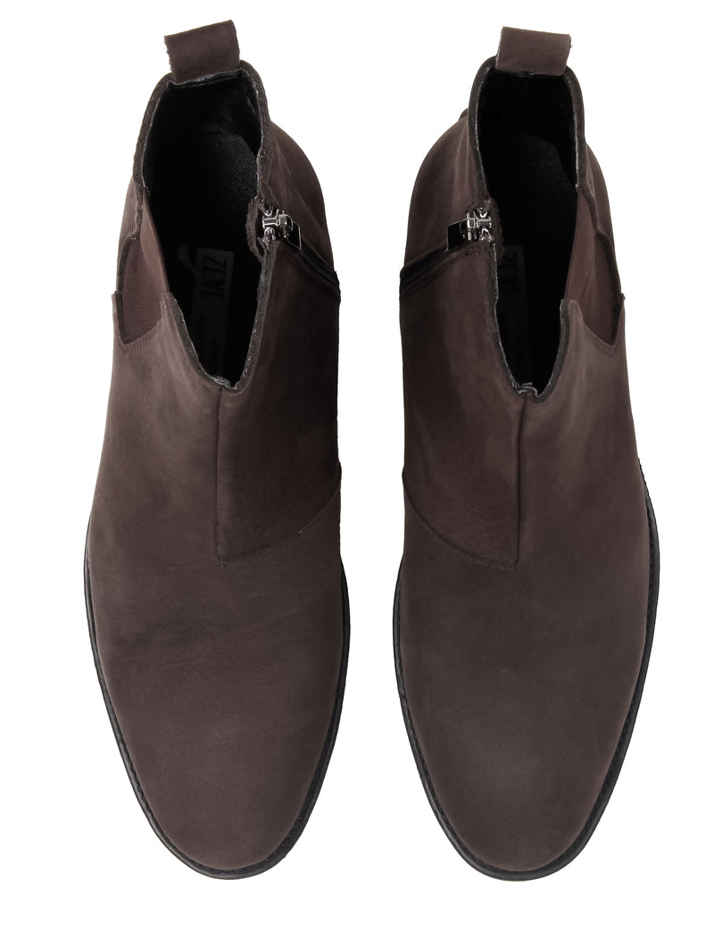 Chelsea Boots With Zipper - Coffee Nubuck Leather (Crepe Sole)