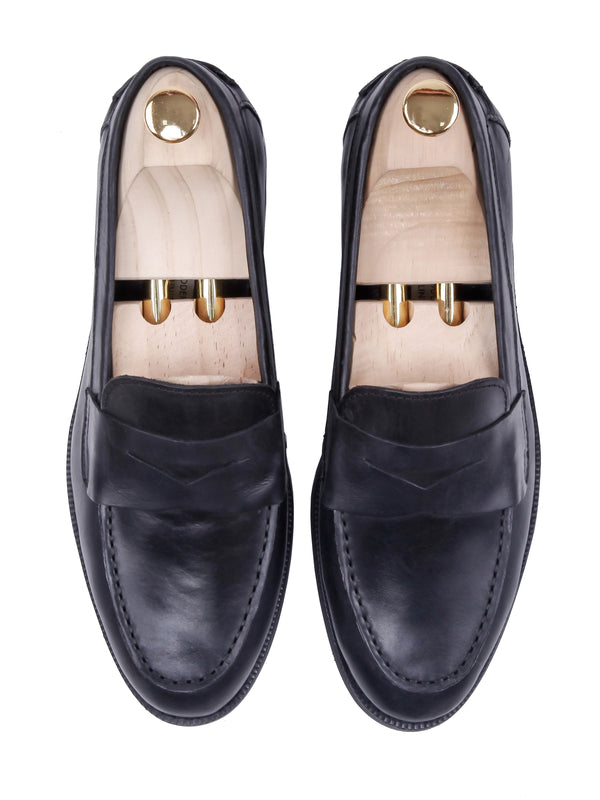Penny Loafer - Black Leather (Crepe Sole)