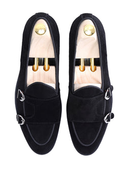 Belgian Loafer - Black Suede Double Monk Strap