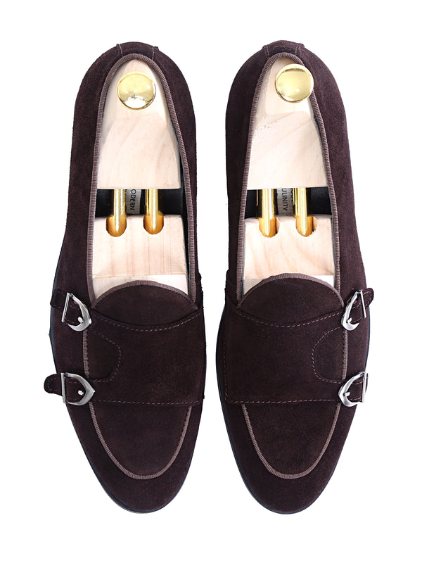 Belgian Loafer - Dark Brown Suede Double Monk Strap