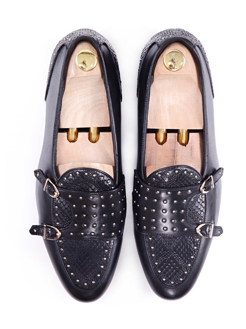 Belgian Loafer - Black Snake Skin Double Monk Strap with Studded