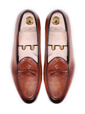 Women Belgian Loafer in Cognac Tan Snake Skin With Ribbon