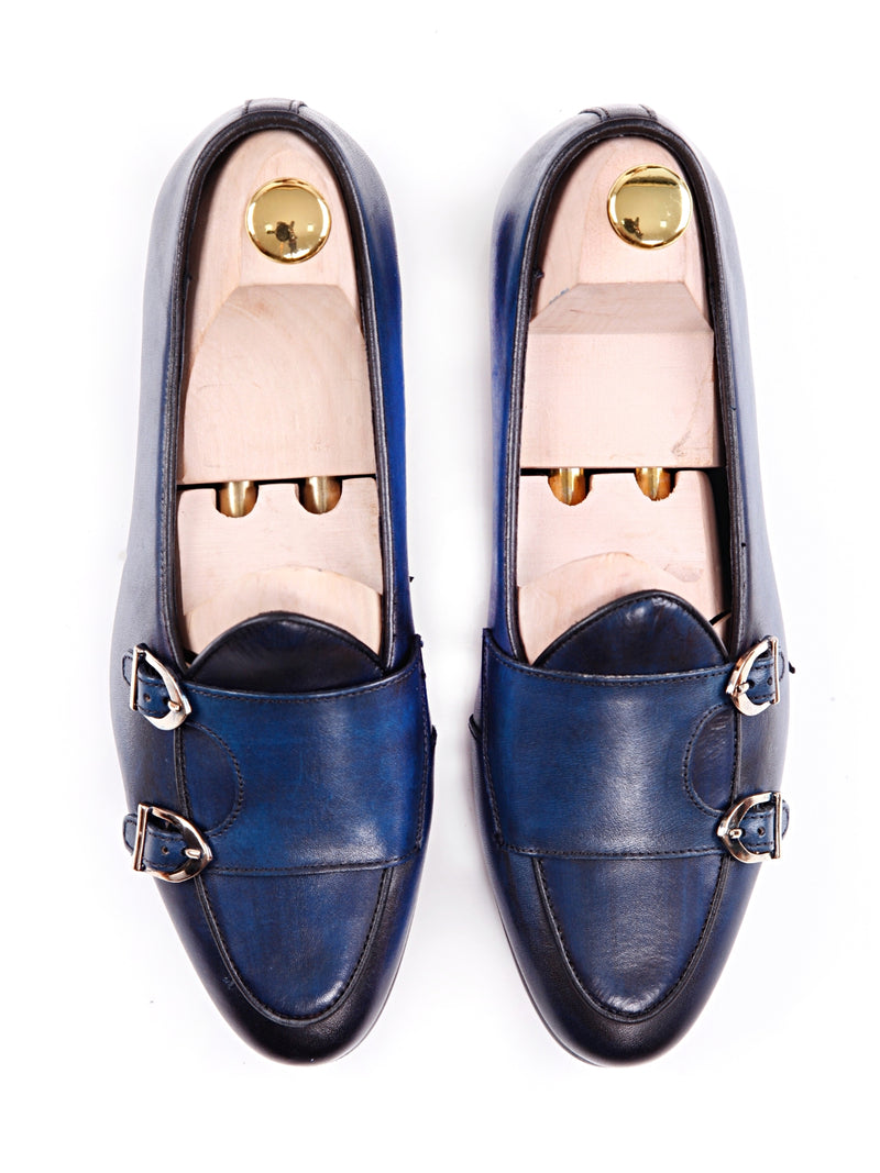 Women Belgian Loafer in Electric Blue Double Monk Strap