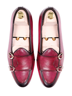 Women Belgian Loafer in Fuchsia Pink Double Monk Strap