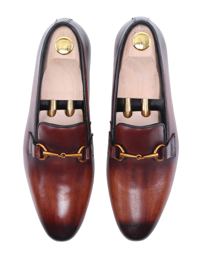 Loafer Slipper - Cognac Tan Leather Brass Horsebit Buckle (Hand Painted Patina)