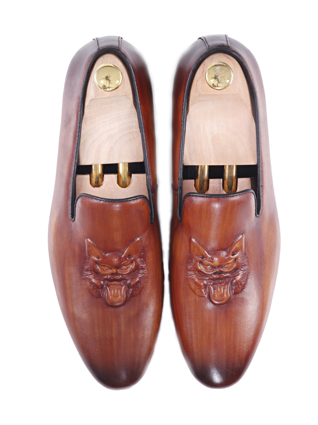 Loafer Slipper - Cognac Tan Wolf Embossed Leather (Hand Painted Patina)