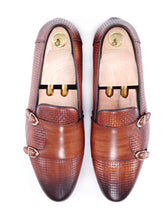 Loafer Slipper - Cognac Tan Double Monk Strap with Woven Leather (Hand Painted Patina)